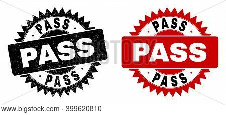 Black Rosette Pass Watermark. Flat Vector Grunge Stamp With Pass Title Inside Sharp Rosette, And Ori