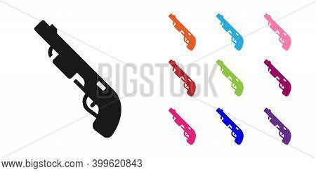 Black Police Shotgun Icon Isolated On White Background. Hunting Shotgun. Set Icons Colorful. Vector