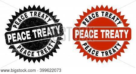 Black Rosette Peace Treaty Seal. Flat Vector Grunge Seal With Peace Treaty Phrase Inside Sharp Roset