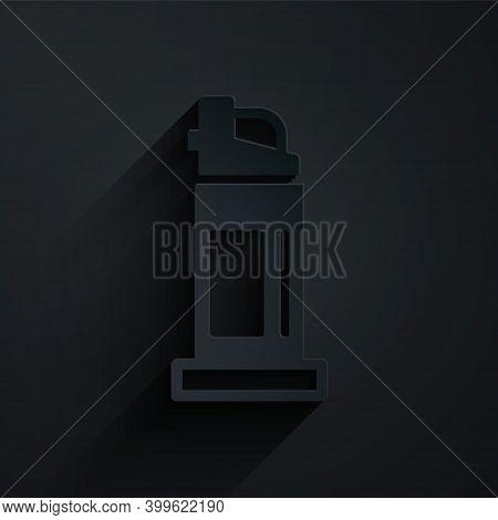 Paper Cut Pepper Spray Icon Isolated On Black Background. Oc Gas. Capsicum Self Defense Aerosol. Pap