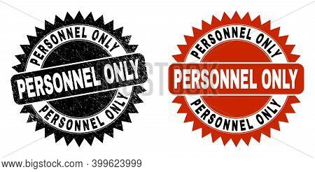 Black Rosette Personnel Only Seal. Flat Vector Grunge Watermark With Personnel Only Text Inside Shar