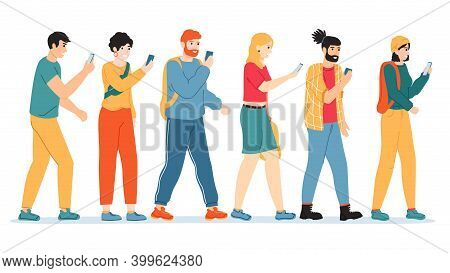 People Smartphone Addiction. Internet, Social Media Addicted People, Male And Female Character With