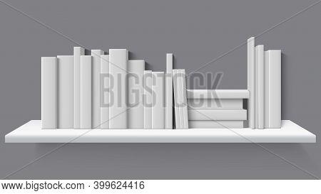 Realistic Books On Bookshelf. Library, Home Or School Bookshelf, Blank Books Stand In Row. Blank Boo