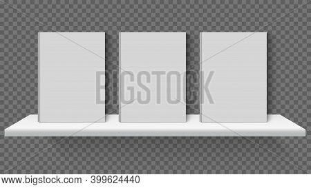 Realistic Bookshelf Mockup. White 3d Books Standing On Shelves, Book Store, Library Or School Booksh