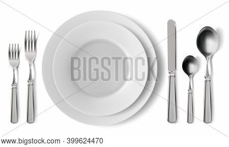 Realistic Table Cutlery Serving. Empty Plates With Silver Cutlery, Dinner Serving Setting. Lunch Ser
