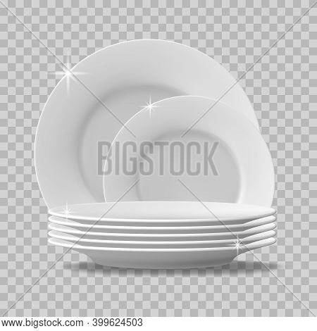 Realistic Plates Stack. Clean Dishes, Stacked Kitchen Tableware, Dishwasher Washed Food Plates. Stac