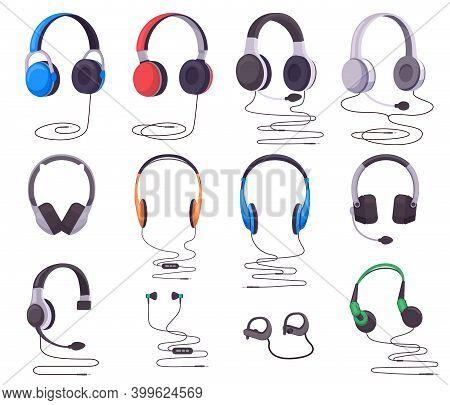 Headphones And Earphones. Music Or Gaming Wired Audio Equipment, Earphones Stereo Digital Gadget. He