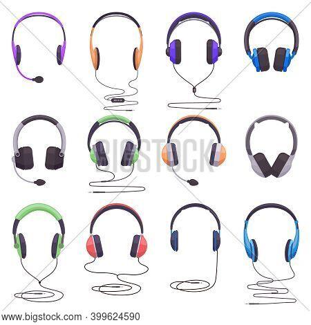 Headphones Equipment. Music Technology Headset, Audio Headgear Digital Gadget, Wired Or Wireless Ear