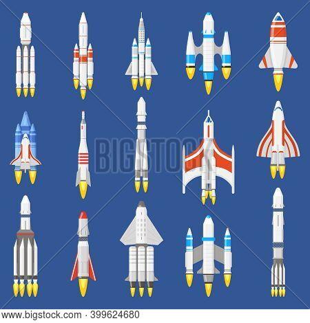 Space Rockets. Spacecraft Ships, Shuttle Vehicles And Aerospace Rockets, Space Shuttle Start. Spaces