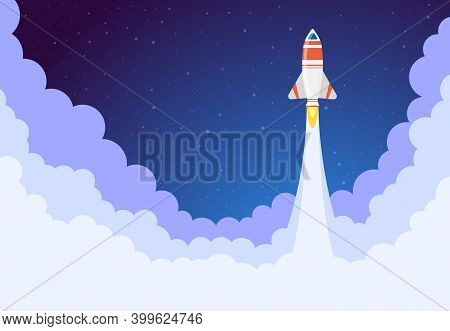 Space Rocket Launch. Flying Spacecraft Ship, Aerospace Shuttle Start, Aerospace Rocket Launching. De