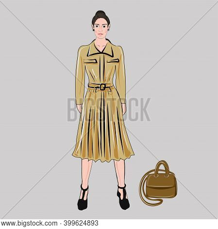 Girl Model In A Beige Dress And A Handbag. Holiday And Work Wardrobe. The Publication. A Set Of Basi