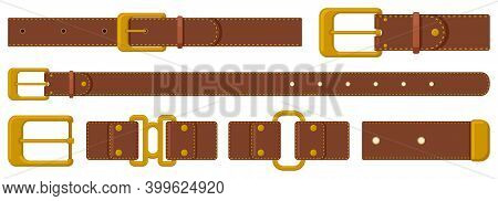 Leather Strapping. Brown Leather Belts With Steel Buckles And Metal Fittings. Haberdashery Strapping