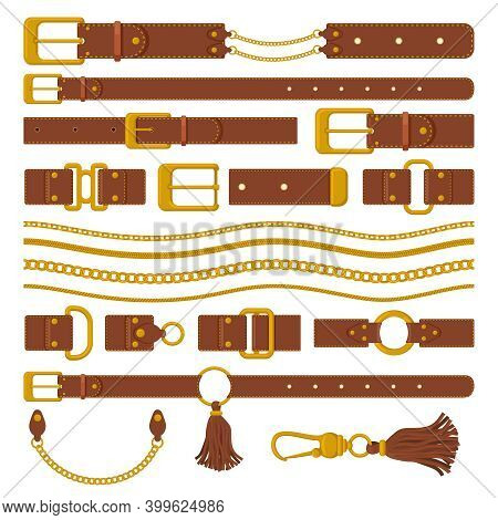 Belts And Chains Elements. Leather Brown Belts, Gold Ring Straps, Chains And Metal Buckles. Haberdas