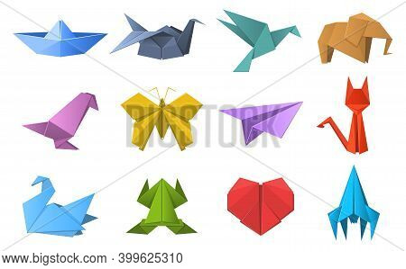 Paper Origami Shapes. Origami Polygonal Paper Folding, Pigeon, Animals, Plane And Ship Figures. Orie