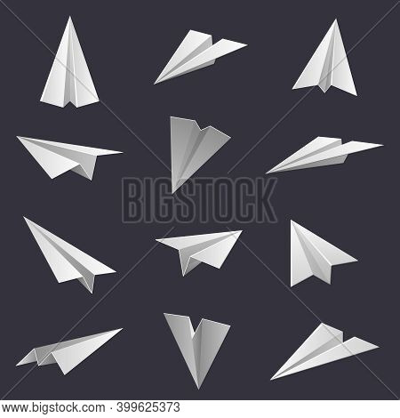 Paper Planes. Handmade Origami Aircraft Figures, Paper Folding Hobby. Polygonal Paper Shapes Isolate