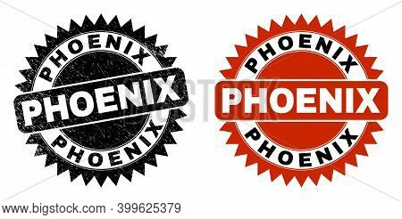 Black Rosette Phoenix Seal Stamp. Flat Vector Textured Seal Stamp With Phoenix Text Inside Sharp Ros