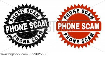 Black Rosette Phone Scam Seal Stamp. Flat Vector Textured Seal Stamp With Phone Scam Caption Inside