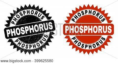 Black Rosette Phosphorus Watermark. Flat Vector Grunge Seal With Phosphorus Phrase Inside Sharp Rose