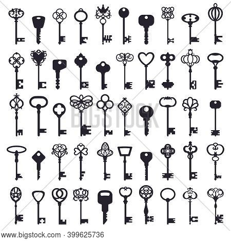 Vintage Keys. Antique Ornamental Safe Key, Old And Modern Keys Classic Silhouettes. House Security K
