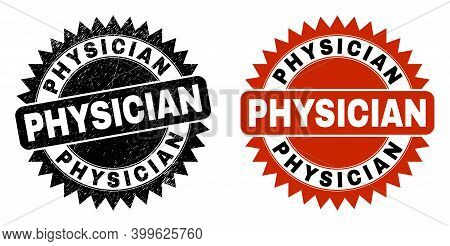 Black Rosette Physician Watermark. Flat Vector Textured Watermark With Physician Caption Inside Shar