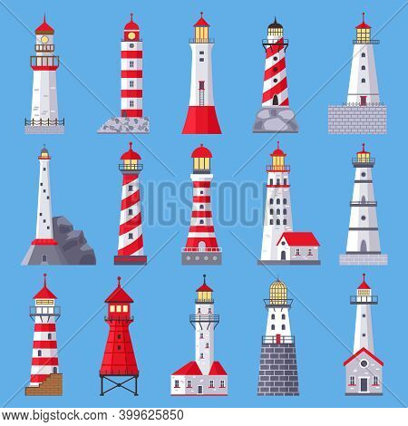 Architectural Lighthouse. Sea Beacons With Searchlight, Marine Ship Navigation Towers. Beacon Buildi