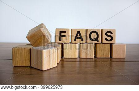 Faqs Symbol. Wood Cubes With Word 'faqs - Frequently Asked Questions' On Beautiful Wooden Table, Whi