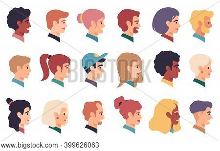 People Portraits. Men, Women Multiracial Profile Faces, Male And Female Face Characters. Human Avata