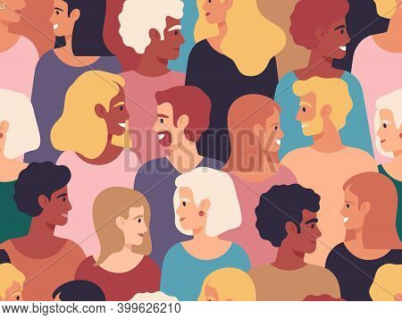 People Profiles Crowd. Male And Female Diverse Profile Portraits, Group Of Young People. Men And Wom