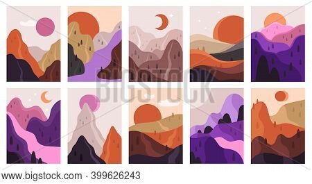 Abstract Landscapes. Mountains And River Minimalist Scenes, Contemporary Aesthetic Landscape. Hand D
