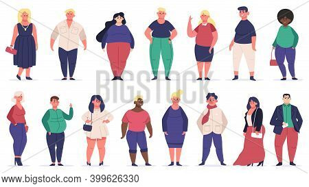 Body Positive People. Plus Size Male And Female Multiracial Characters, Attractive Curvy, Overweight