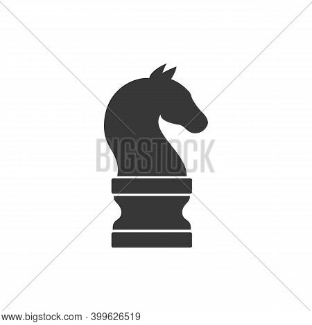 Chess Piece Knight Icon Isolated On White Background. Black Chess Horse Flat Style