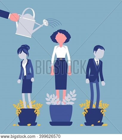 Growing Female Talent From Favorite Employee. Helping One Person Grow In Plant Pot Watering To Suppo