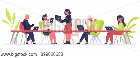 Coworking Space. People Working In Office Workplace, Self Employed Freelancers Working In Coworking