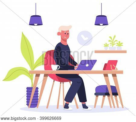 Freelance Worker. Man Works On Laptop At Home, Male Freelance Character, Convenient Home Office Work