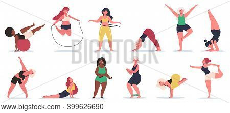 Body Positive Fitness. Plus Size Girls Do Yoga, Work Out Training And Stretching. Active Plus Size W