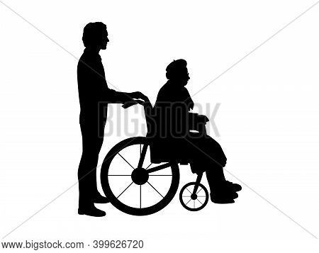 Silhouettes Of Man Walking Grandmother In Wheelchair. Illustration Symbol Icon