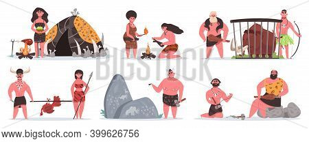 Prehistoric Characters. Caveman Life, Stone Age Cave And Hut. Hunting, Cooking And Collecting Primit