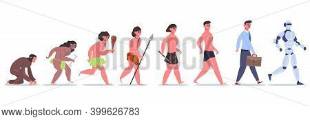 Human Evolution. Male Character Development From Monkey To Caveman, Businessman And Ai Cyborg. Anthr