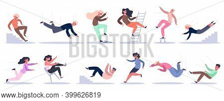 Falling People. Stumbling, Slipping, Falling Down Stairs, Ladder And Altitude Characters. Bad Luck P