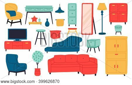 Home Furniture. Living Room Interior Sofa, Armchair, Lamp, Bookcase, Tv, Cabinet And Coffee Table. D