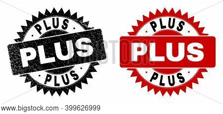 Black Rosette Plus Seal Stamp. Flat Vector Grunge Seal Stamp With Plus Title Inside Sharp Rosette, A