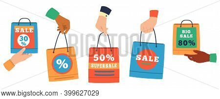 Sale Shopping Bags. Hands Holding Paper Shoppers With Discount Percentage, Purchase Bags. Promote Sa