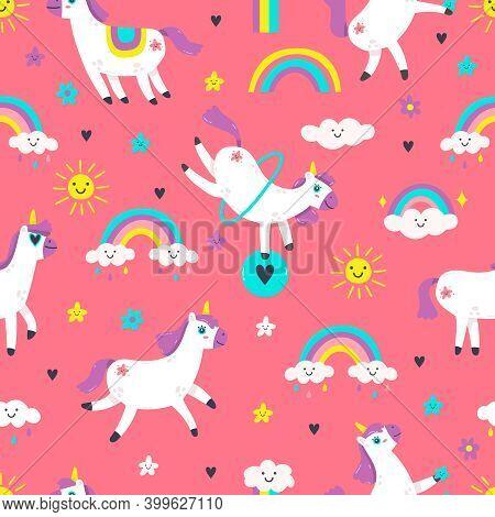 Unicorn Seamless Pattern. Cute Fairytale Animals, Pony Unicorns With Rainbow, Cloud, Stars. Fairy Ta