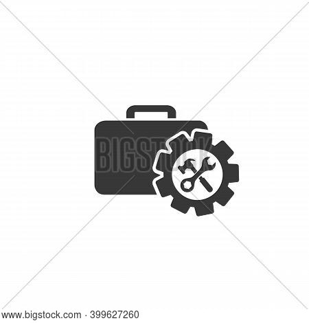 Toolbox With Instruments Inside. Workmans Toolkit. Workbox In Icon Style. Vector Illustration