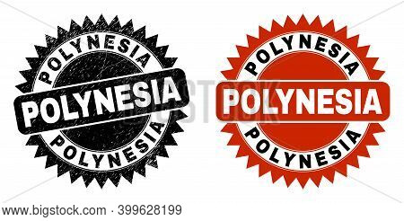 Black Rosette Polynesia Seal Stamp. Flat Vector Textured Stamp With Polynesia Phrase Inside Sharp Ro