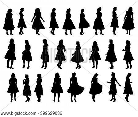Beauty young girl in dress walking down street. Isolated silhouette on white background