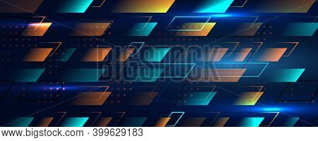 Abstract Blue Sports Background In Speed Effect Style. Illustration Of Colorful Light Ray, Neon Stri
