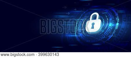 Cyber Security For Business And Internet Project. 3d Vector Illustration Of A Data Security Services