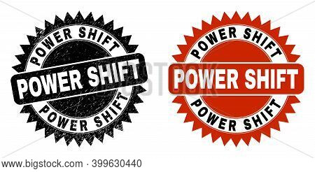 Black Rosette Power Shift Watermark. Flat Vector Scratched Watermark With Power Shift Text Inside Sh