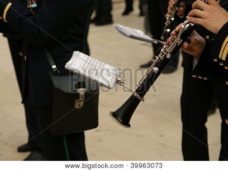 Marching Military Band At The Parade. Clarinet